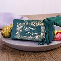 초콜릿 선물 랩 골드 도금 결혼식 축하 삼각형 사탕 상자 실크 리본 선물 랩 패션 새로운 도착 0 33cy M2