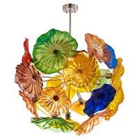 Lâmpadas Novidade Flor Chandeliers luz multi cor mão soprada placa de vidro lâmpada lâmpada decorativa luzes de teto pendurado iluminação LED