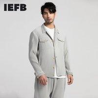 IEFB / Мужская одежда Высококачественная плиссированная одежда растягивающая ткань поворотный воротник двойной карманный карманный с длинным рукавом куртка новая LJ201013