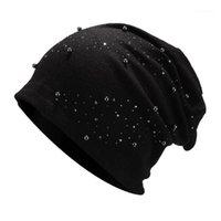 Bere / Kafatası Kapaklar 2021 Trend Kadınlar Şapka Kış Moda Streç Başlık Sıcak Basit Katı Renk Saf Boncuk Pearl Bayan1