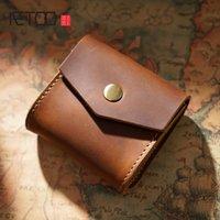 HBP aetoo kafa deri mini toplama çantası, yaratıcı vintage sikke anahtar çanta, kulaklık çanta hattı küçük cüzdan