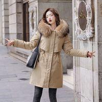 Donne lunghe cardigan tuta sportiva moda nuovo inverno spessore caldo parka cappotti colletti di pelliccia cappotti con cappuccio femmina casual streetwear top