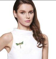 أزياء فتاة خمر جميل المينا اليعسوب كريستال حجر الراين وشاح دبابيس دبابيس شخصية الحشرات الملابس PS0668
