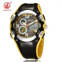 Wristwatches OHSEN Digital Quartz Lady Women Fashion Wristwatch 30M Dive Rubber Band Yellow LCD Outdoor Sport Gift Watches Relogio Feminino1