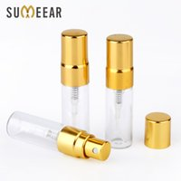 100PC Lot 3ml Portable Sample Spray Bottle Transparet Glass Perfume Atomizer with Gold Metal Pump Travel Container