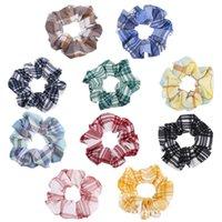 10 color de pelo anillo de dulce y de impresión preciosa tela escocesa titular de la cuerda elástica Scrunchies Toca Bobble Hairband mujeres de la muchacha de pelo barato F102301 VENTA