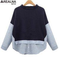AREALNA Autumn Sweatshirt Frauen Stil Gestreifte Patchwork Navy Pullover Lose Beiläufige Hoodies für Frauen plus Größe XL-5XL 201210