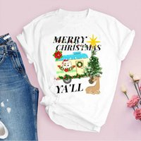 Tees for Women Print Animal Cat Tree New Year 90s Holiday Ch...