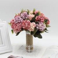 Bouquet de mariage de pays avec ruban satiné de soie artificielle rose naturel ivoire champagne Boho mariée mariée fête de mariée tenant des fleurs