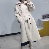 Kadın Kürk Faux 2021 BFFUR Uzun Yün Ceket Kemer Ile Gerçek Ceket Yaka Bayan Palto Doğal Koyun Kadın Kış Dışarı