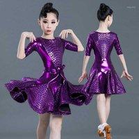 Малыш фиолетовый элегантный плиссированный современный сальса латинские бальные танцы платья для девушки танцевальная одежда танцы соревнований костюм износа1