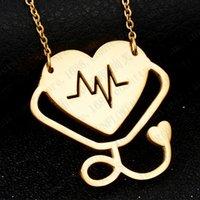 Mode medizinische stethoskop halskette edelstahl ich liebe y du herz stethoskop halskette schmuck für krankenschwester doktor schmuck geschenk 105 m2