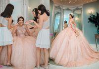 Stunning Rose Gold Wedding Dresses 2021 Ball gown Cold Shoulder Sequined Tulle Crystal Keyhole BackWedding Bridal Gowns Cheap Designer