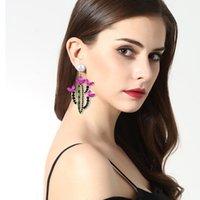 Orecchini di cactus di perle di strass per le donne moda di lusso grande dichiarazione fiore stallone goccia orecchino dono dono dono dono regalo gioielli gioielli