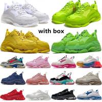 New Crystal Bottom BalenCiaca 17w Triple S Mulheres Mens Casuais Sapatos Pai Plataforma Treinadores Sneaker Designer Liso Sapatilhas Tamanho 36-45 Vintage