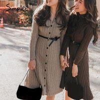 Simple Casual Sólido Mulheres Camisola Vestido Outono Inverno Acolhedor Longo Manga Botão Vestido Estilo High Street Feminino de malha 20201