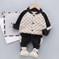 2021 spring Kid Boy Girl Clothing Brand Casual Tracksuit Long Sleeve Letter coat Sets Infant Clothes Baby Pants 1 2 3 4 5Years
