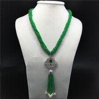 Chaînes Style 7ages Stone Vert Blanc Arbre Fresque Perle Collier Tassel Micro Inlay Zircon Accessoires Fermoir Bijoux Fashion