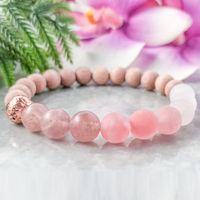 MG1096 Rose Rose Cristal Bracelet de perles en bois de rose naturelle Boho de bracelets en perles de guérison cristaux Mala Bracelet pour les femmes