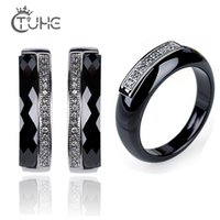 Fashion Stainless Steel Ceramic Rings Earrings Healthy CZ Crystal Jewelry Sets For Women Wedding Fashion Jewelry Gifts