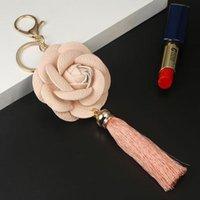 Новое поступление Camellia кожаный цветок с кисточкой цепь ключей Золотой модный ключ кольцо женщины сумка кулон автомобиль брелок EH883 H JLLTRJ