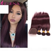 Pelo virgen peruano RED RED 99J Weave Hair Weave 3 paquetes Borgoña peruano recto vírgenes rojos de trama humana con cierre
