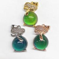 NOUVEAU Pendentif de thermochromite de mode, cuivre plaqué or 18 carats d'oreilles en zircon d'or 18 carats, accessoires pour collier