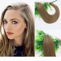 100g nastro in estensioni di capelli umani marrone chiaro # 8 remy nastro di nastro estensioni di capelli della pelle PU 14 16 18 20 22 24 pollici