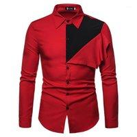 컬러 블록 남성 긴 소매 셔츠 한국어 스타일 남성 전체 슬리브 셔츠 2020 싱글 브레스트 남성 드레스 셔츠 착용 1