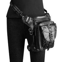 حقائب الخصر steampunk الشرير الرجعية حقيبة أسود برشام روك متعددة الوظائف الكتف رسول moto biker دراجة نارية الساق للجنسين