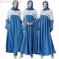 الملابس العرقية مسلم فستان طويل الأزهار التطريز فساتين ماكسي الأزياء أبيض أزرق ضرب لون المرقعة الملابس العربية زائد الحجم 1