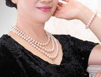 Цепи Длинные ожерелье Женщины Классические 6-7 7-8 мм Натуральный Белый Круглый Пресноводный Жемчужный Браслет Костюм Ювелирные Изделия1