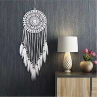 White Lace Flower Dreamcatcher Wind Chimes Feather Pendant D...