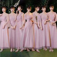 Talla grande Mujeres elegante polvoriento azul gris rosa pálido mauve de encaje invitado fiesta de boda junior largo dama de honor vestidos Vestidos 8151