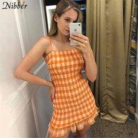 Nibber Harajuku Plaid Print Bodycon Mini Kleider Womens Herbst Wild Mode Straße Lässige Schulter Kurze Kleider Mujer Y200418