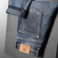 Männer Jeans 2021 Stretch Normal Fit Business Gelegenheit Klassische Stil Mode Denim Hose Männliche Schwarz Blau Große Größe Hosen