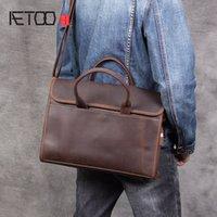 Aetoo retro rahat kafa inek derisi el çantası renk pratik erkek büyük kapasiteli çanta silin