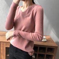 Automne femmes élégantes en tricot T-shirt col V Base Coat Nouvelle Automne / Hiver 2020 coréenne chandail à manches longues Mode Haut Femmes