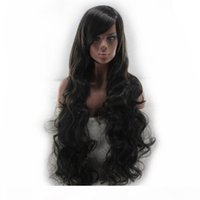 WoodFestival Bangs obliques longues perruque noire Perruque de cheveux synthétiques bouclés pour femmes perruque de fibre résistante à la chaleur peut être teinté cheveux 80cm