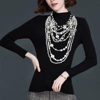 Collar de bodas de perlas de múltiples capas Nuevas Accesorios de joyería nupcial baratos Pearls Suéter Cadena Collar Pagina Partido