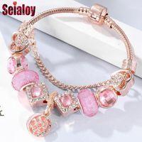 Charm Bracelets Seialoy Rose Gold for Women Heart Heart Pink Crown Sven Barras Pulsera Bangle Fit Girls Pareja Amistad Joyería Regalo1