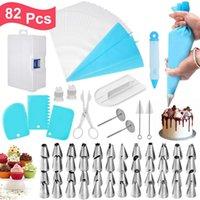 82 pcs dicas de tubulação de gelo definido com caixa de armazenamento bolo decoração suprimentos kit de gelo bicos de gelo bolsas de tubulação de pastelaria Slooter 201023