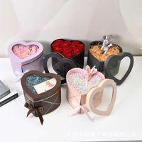 1 قطعة على شكل قلب طبقة مزدوجة الدورية دلو زهرة diy عيد الحب يوم عيد الأم هدية مربع التعبئة والتغليف