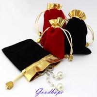 Wholeslae 100pcs التي مجوهرات التخزين الحقائب المخملية الرباط حزام القرط سوار قلادة حمل حقائب حبة الماس حزمة القضية T200602