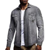 Vintage Denim Gömlek Erkekler Slim Fit Casual Jean Ceket Pileli Uzun Kollu Buttun Yukarı Blusas Masculina Streetwear Yıkanmış Jeans Gömlek