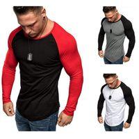 Erkek Ekleme Katı Renk Tshirt Moda Eğilim Uzun Kollu Rahat Spor Skinny Tops Tees Bahar Erkek Yeni Yuvarlak Boyun Ince Tshirt