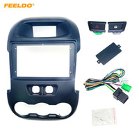 FEELDO Car Stereo Radio 9inch Fascia Frame Dash Kit Panel For Ford Ranger (2011-2015) With Manual A/C Button+Wiring Harness #3190