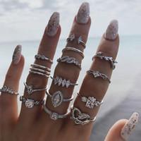 15 stks Bohemian Midi Knuckle Ring Set voor Dames Crystal Ovale Prinses Geometrische Hart Kroonvinger Ringen Vintage Sieraden Geschenken
