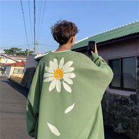 Nicemix Mujeres de gran tamaño Flower Fleece Sudaderas con capucha Otoño Hombres Harajuku Streetwear Sudaderas Sudadera con capucha Coreana Sudadera con capucha 201008
