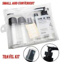7pcs portáteis / conjunto de viagens plasiques transparentes compõem garrafa de embalagem de pulverização garrafas de pressão recarregável garrafas cosméticas 9191